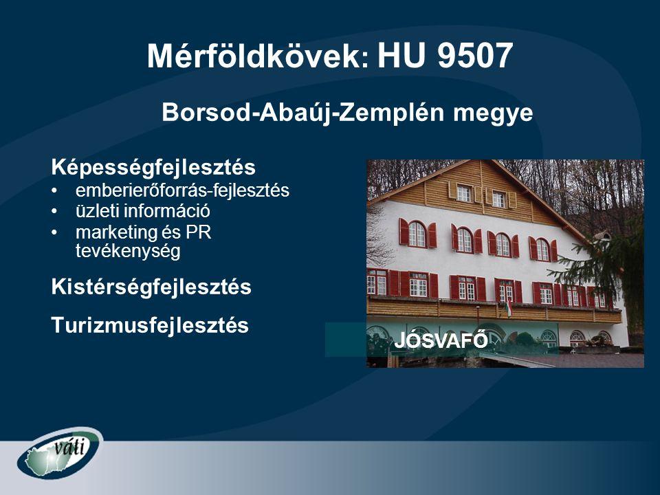 Mérföldkövek : HU 9507 Képességfejlesztés •emberierőforrás-fejlesztés •üzleti információ •marketing és PR tevékenység Kistérségfejlesztés Turizmusfejl
