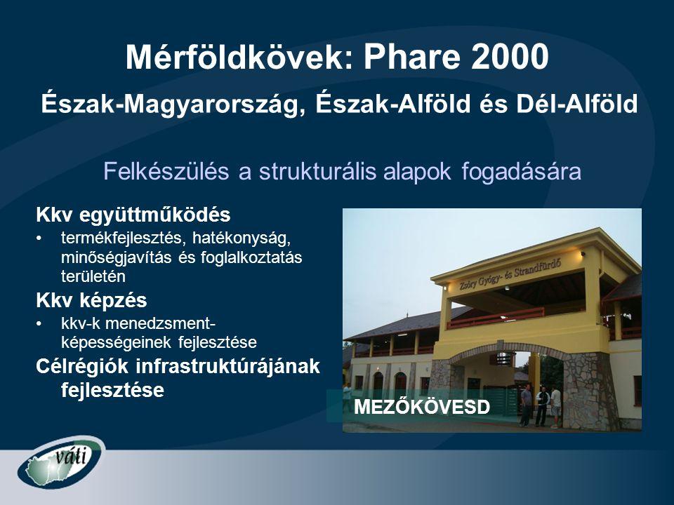 Mérföldkövek: Phare 2000 Kkv együttműködés •termékfejlesztés, hatékonyság, minőségjavítás és foglalkoztatás területén Kkv képzés •kkv-k menedzsment- k