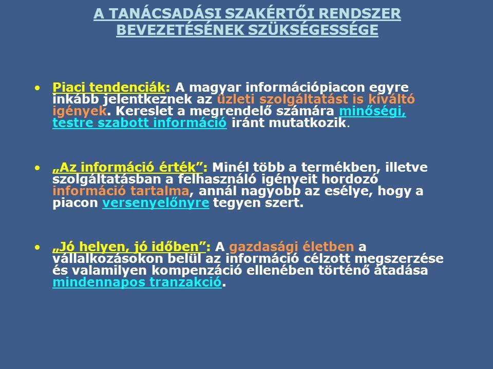 A TANÁCSADÁSI SZAKÉRTŐI RENDSZER BEVEZETÉSÉNEK SZÜKSÉGESSÉGE •Piaci tendenciák: A magyar információpiacon egyre inkább jelentkeznek az üzleti szolgáltatást is kiváltó igények.