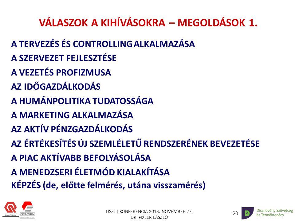 20 DSZTT KONFERENCIA 2013.NOVEMBER 27. DR. FIXLER LÁSZLÓ VÁLASZOK A KIHÍVÁSOKRA – MEGOLDÁSOK 1.