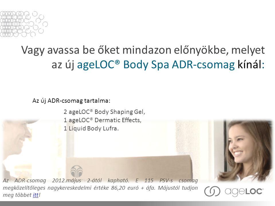 Vagy avassa be őket mindazon előnyökbe, melyet az új ageLOC® Body Spa ADR-csomag kínál: Az ADR-csomag 2012.május 2-ától kapható.