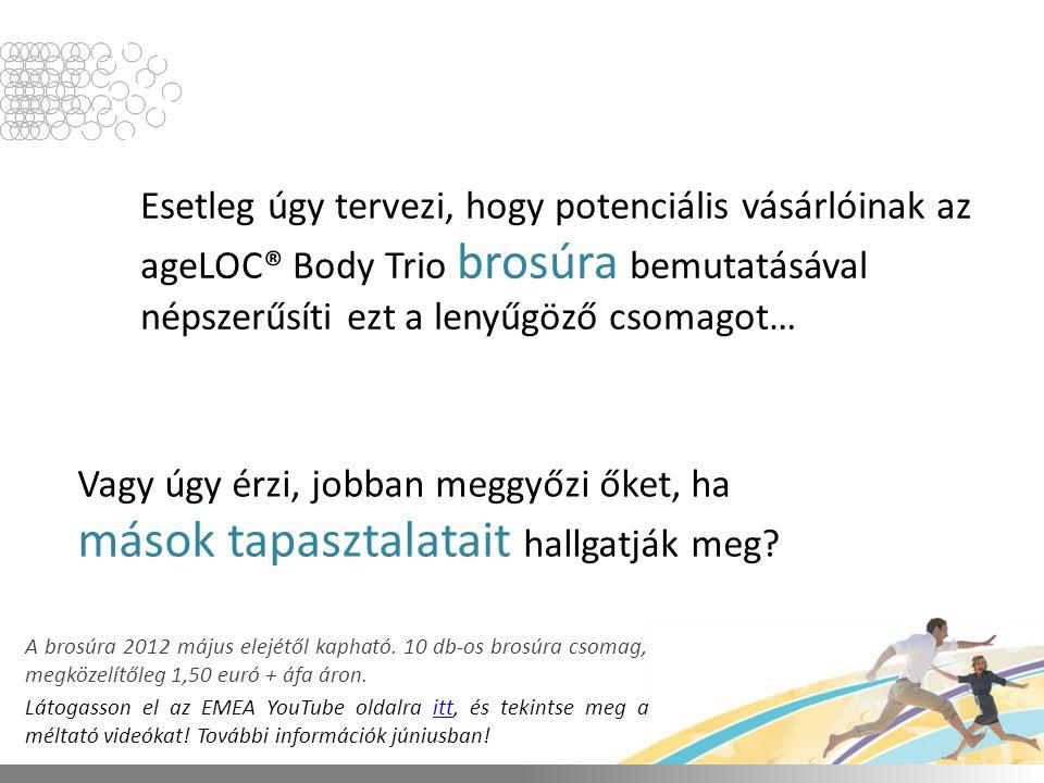 Esetleg úgy tervezi, hogy potenciális vásárlóinak az ageLOC® Body Trio brosúra bemutatásával népszerűsíti ezt a lenyűgöző csomagot… Vagy úgy érzi, jobban meggyőzi őket, ha mások tapasztalatait hallgatják meg.