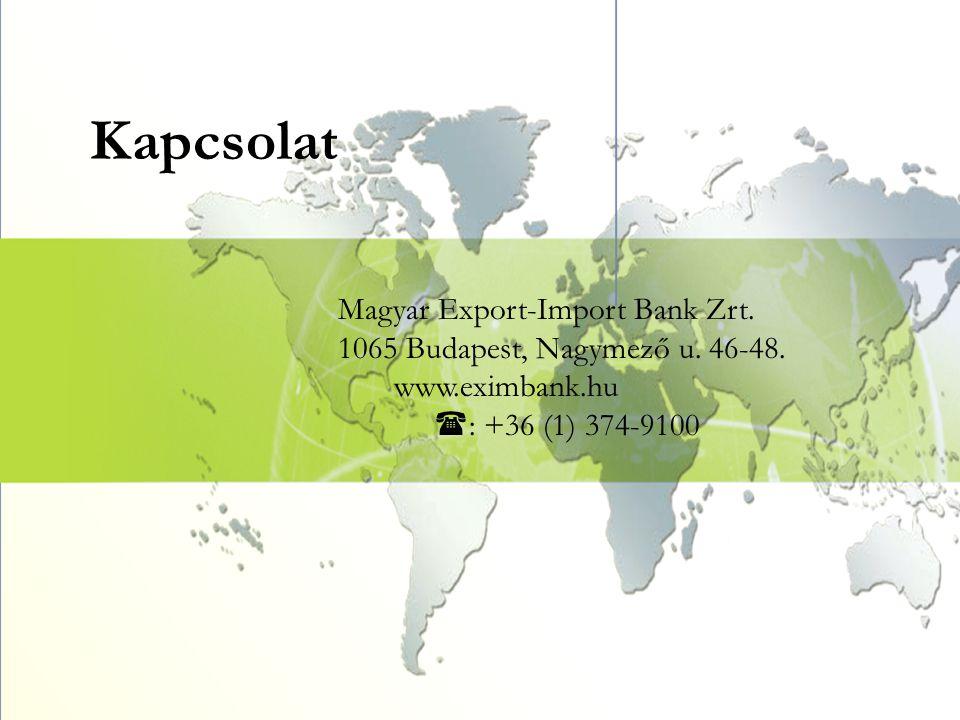 Kapcsolat Magyar Export-Import Bank Zrt. 1065 Budapest, Nagymező u. 46-48. www.eximbank.hu  : +36 (1) 374-9100
