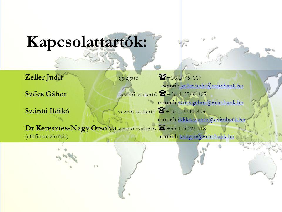 Kapcsolattartók: Zeller Judit igazgató  +36-3749-117 e-mail: zeller.judit@eximbank.huzeller.judit@eximbank.hu Szőcs Gábor vezető szakértő  +36-1-374