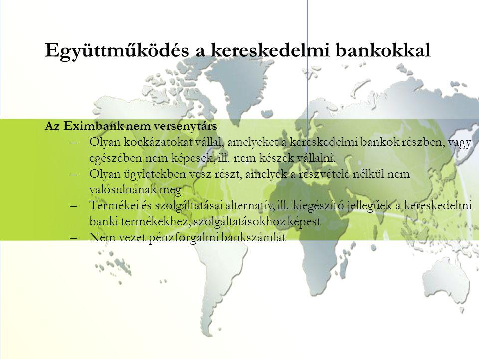 Együttműködés a kereskedelmi bankokkal Az Eximbank nem versenytárs –Olyan kockázatokat vállal, amelyeket a kereskedelmi bankok részben, vagy egészében