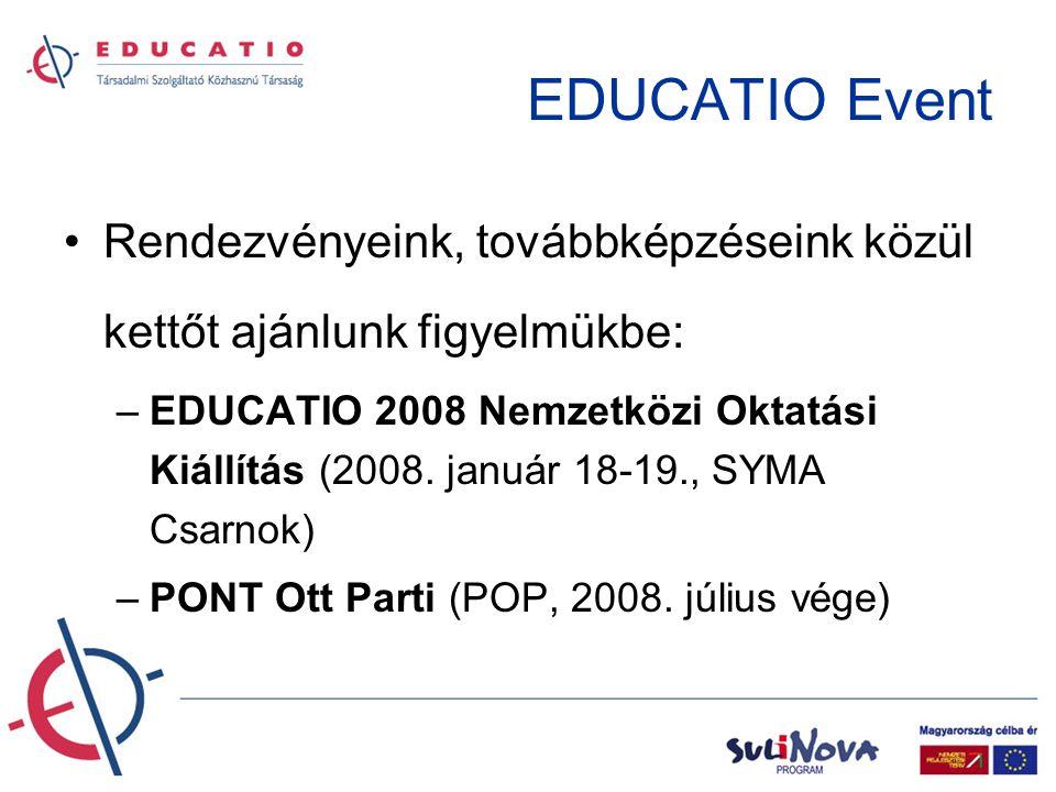 EDUCATIO Event •Rendezvényeink, továbbképzéseink közül kettőt ajánlunk figyelmükbe: –EDUCATIO 2008 Nemzetközi Oktatási Kiállítás (2008.