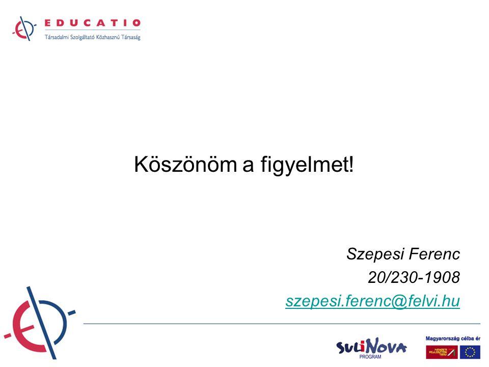 Köszönöm a figyelmet! Szepesi Ferenc 20/230-1908 szepesi.ferenc@felvi.hu