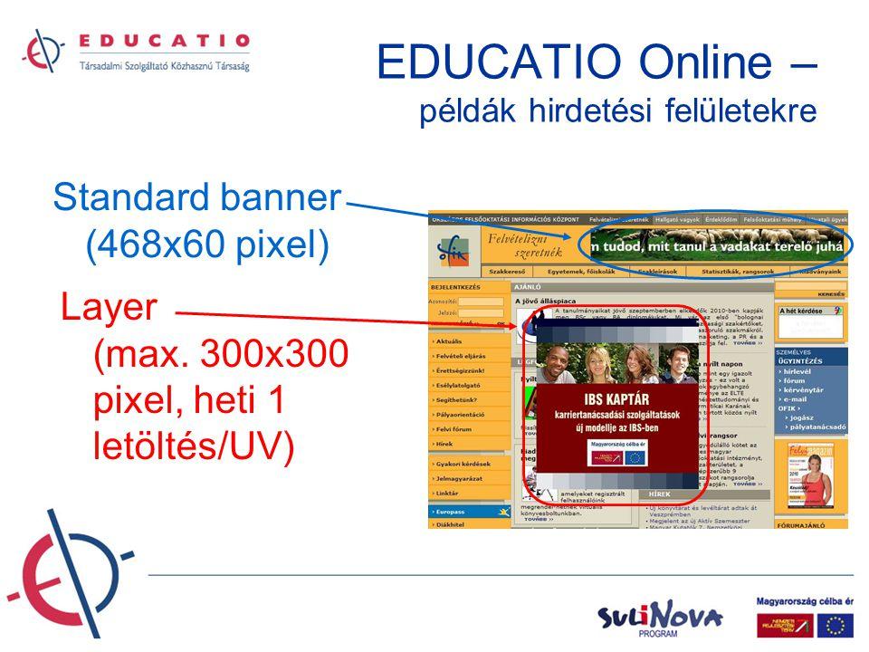 EDUCATIO Online – példák hirdetési felületekre Skybox (120x240) - sticky - beágyazva Magnum (728x90)