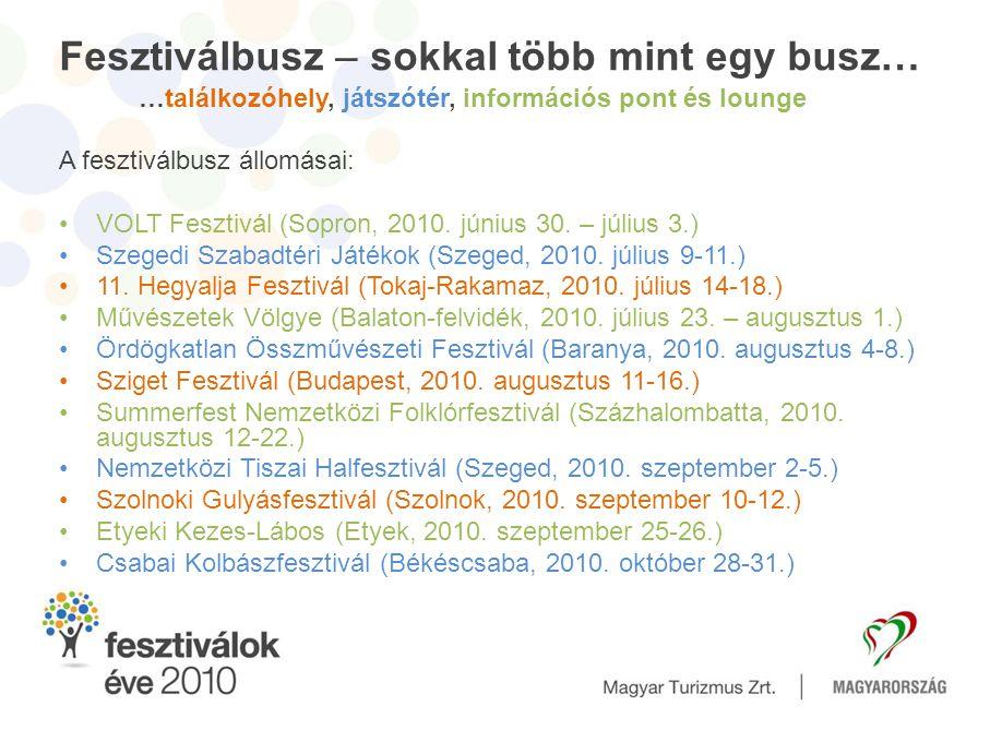Fesztiválbusz – sokkal több mint egy busz… …találkozóhely, játszótér, információs pont és lounge A fesztiválbusz állomásai: •VOLT Fesztivál (Sopron, 2