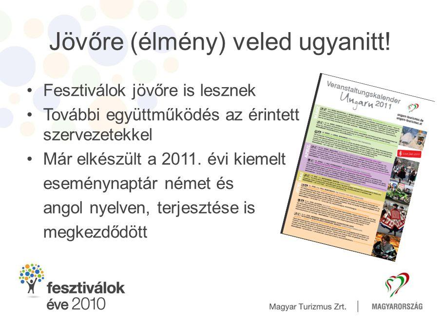 Jövőre (élmény) veled ugyanitt! •Fesztiválok jövőre is lesznek •További együttműködés az érintett szervezetekkel •Már elkészült a 2011. évi kiemelt es