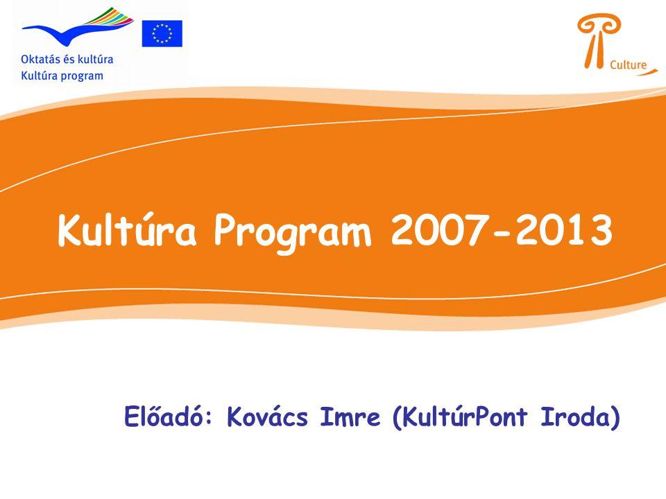 Kultúra Program 2007-2013 Előadó: Kovács Imre (KultúrPont Iroda)