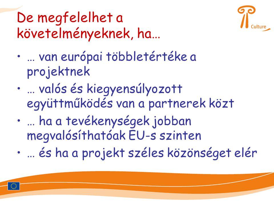 De megfelelhet a követelményeknek, ha… •… van európai többletértéke a projektnek •… valós és kiegyensúlyozott együttműködés van a partnerek közt •… ha a tevékenységek jobban megvalósíthatóak EU-s szinten •… és ha a projekt széles közönséget elér