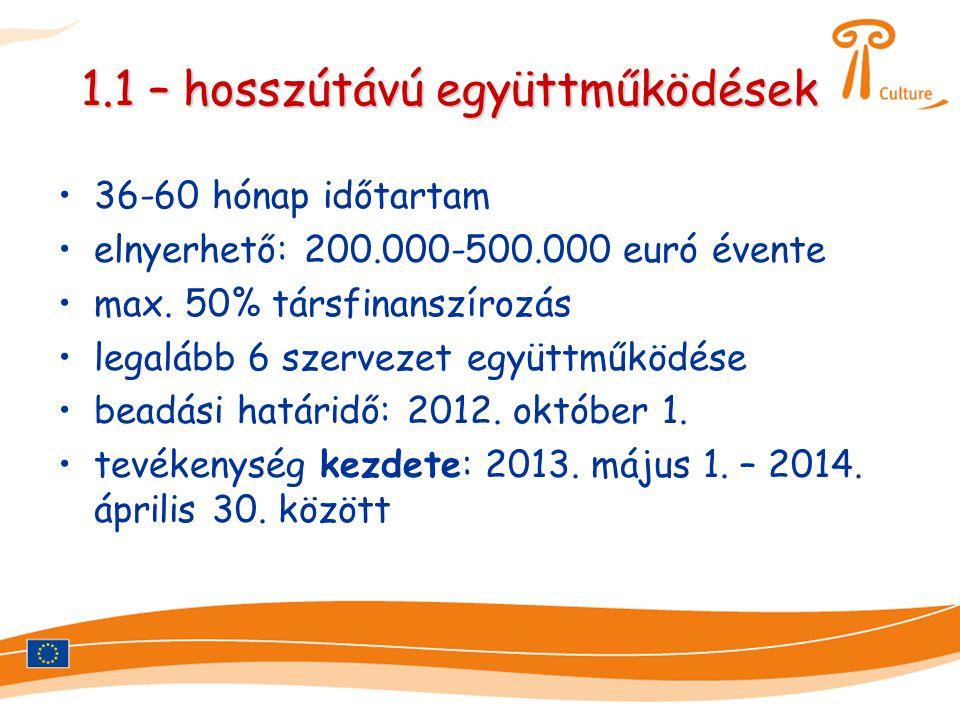 1.1 – hosszútávú együttműködések •36-60 hónap időtartam •elnyerhető: 200.000-500.000 euró évente •max. 50% társfinanszírozás •legalább 6 szervezet egy