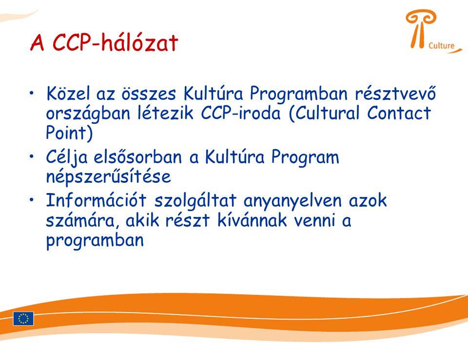 A CCP-hálózat •Közel az összes Kultúra Programban résztvevő országban létezik CCP-iroda (Cultural Contact Point) •Célja elsősorban a Kultúra Program népszerűsítése •Információt szolgáltat anyanyelven azok számára, akik részt kívánnak venni a programban