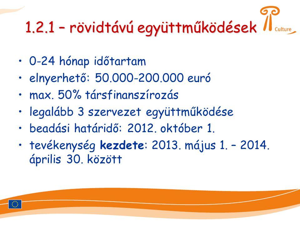1.2.1 – rövidtávú együttműködések •0-24 hónap időtartam •elnyerhető: 50.000-200.000 euró •max. 50% társfinanszírozás •legalább 3 szervezet együttműköd