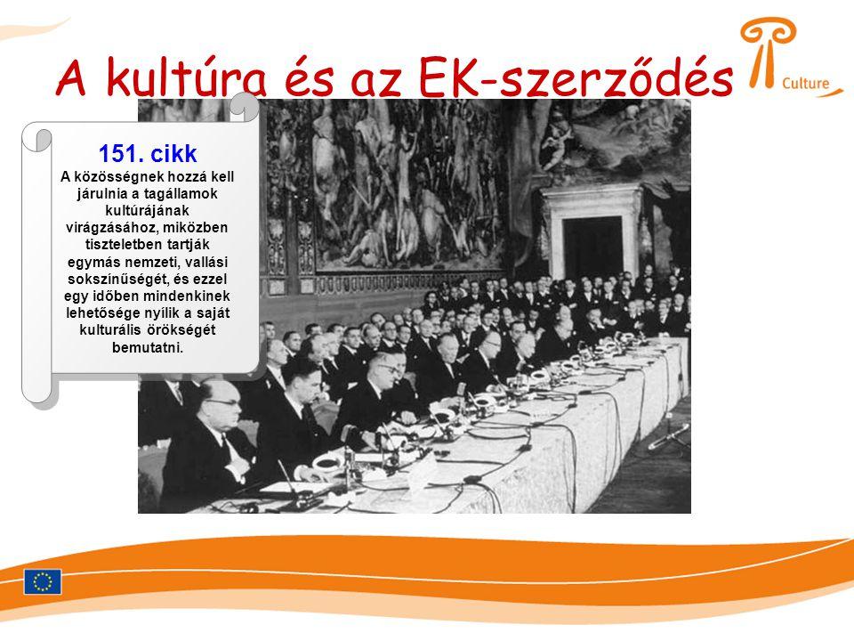 A kultúra és az EK-szerződés 151. cikk A közösségnek hozzá kell járulnia a tagállamok kultúrájának virágzásához, miközben tiszteletben tartják egymás