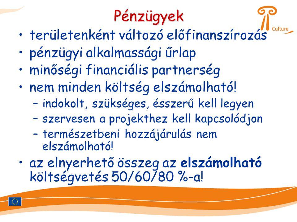 Pénzügyek •területenként változó előfinanszírozás •pénzügyi alkalmassági űrlap •minőségi financiális partnerség •nem minden költség elszámolható! –ind