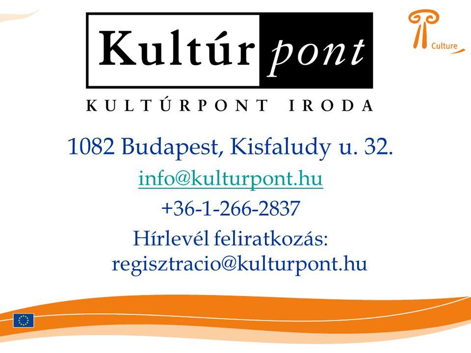 Bővebb információ 1082 Budapest, Kisfaludy u. 32. info@kulturpont.hu +36-1-266-2837 Hírlevél feliratkozás: regisztracio@kulturpont.hu