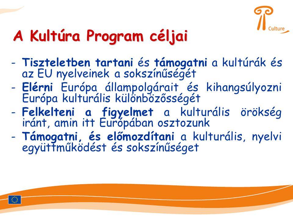 A Kultúra Program céljai -Tiszteletben tartani és támogatni a kultúrák és az EU nyelveinek a sokszínűségét -Elérni Európa állampolgárait és kihangsúlyozni Európa kulturális különbözősségét -Felkelteni a figyelmet a kulturális örökség iránt, amin itt Európában osztozunk -Támogatni, és előmozdítani a kulturális, nyelvi együttműködést és sokszínűséget