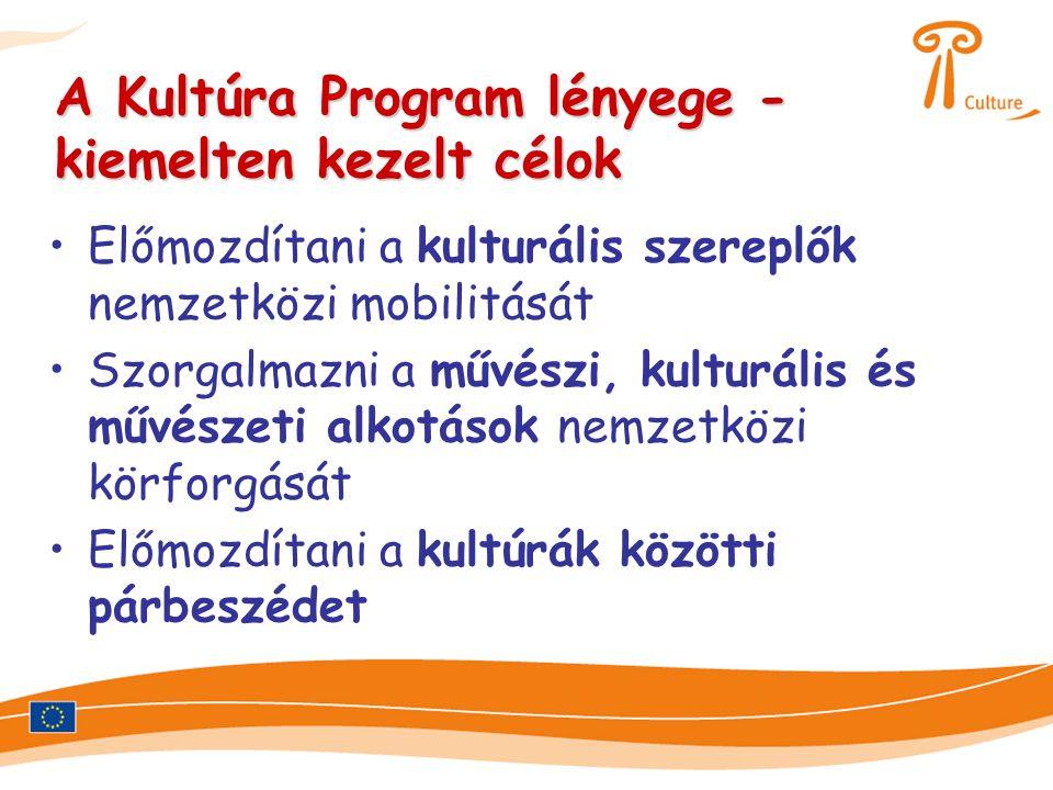 A Kultúra Program lényege - kiemelten kezelt célok •Előmozdítani a kulturális szereplők nemzetközi mobilitását •Szorgalmazni a művészi, kulturális és művészeti alkotások nemzetközi körforgását •Előmozdítani a kultúrák közötti párbeszédet