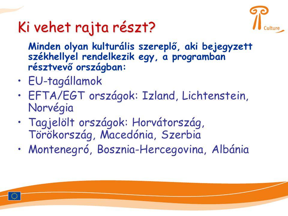 Ki vehet rajta részt? Minden olyan kulturális szereplő, aki bejegyzett székhellyel rendelkezik egy, a programban résztvevő országban: •EU-tagállamok •