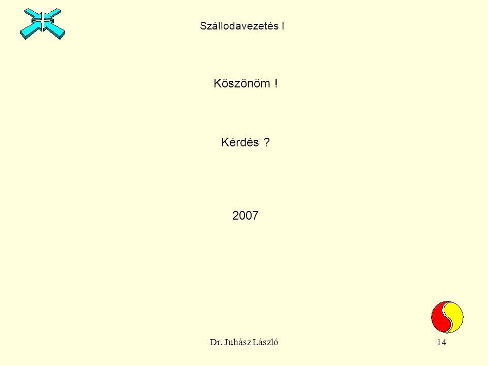 Dr. Juhász László14 Köszönöm ! Kérdés 2007 Szállodavezetés I