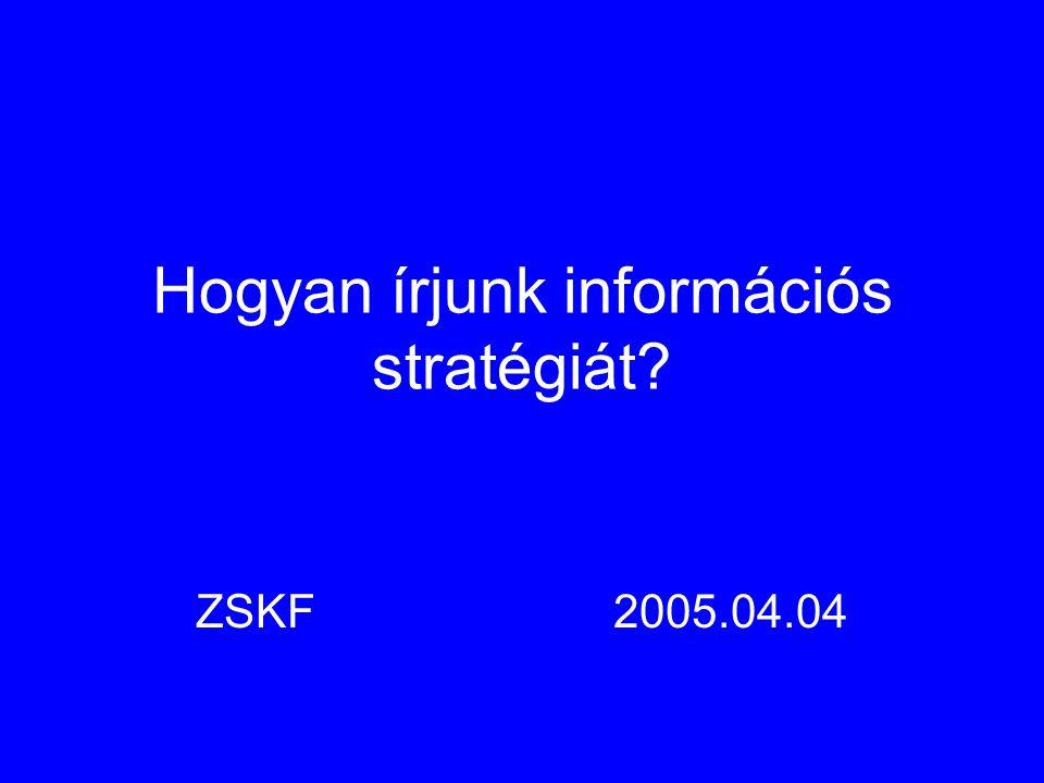 Hogyan írjunk információs stratégiát ZSKF2005.04.04