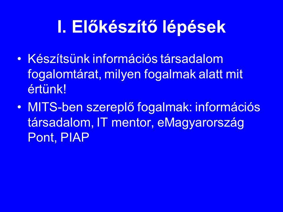 I. Előkészítő lépések •Készítsünk információs társadalom fogalomtárat, milyen fogalmak alatt mit értünk! •MITS-ben szereplő fogalmak: információs társ
