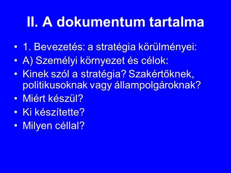 II. A dokumentum tartalma •1.