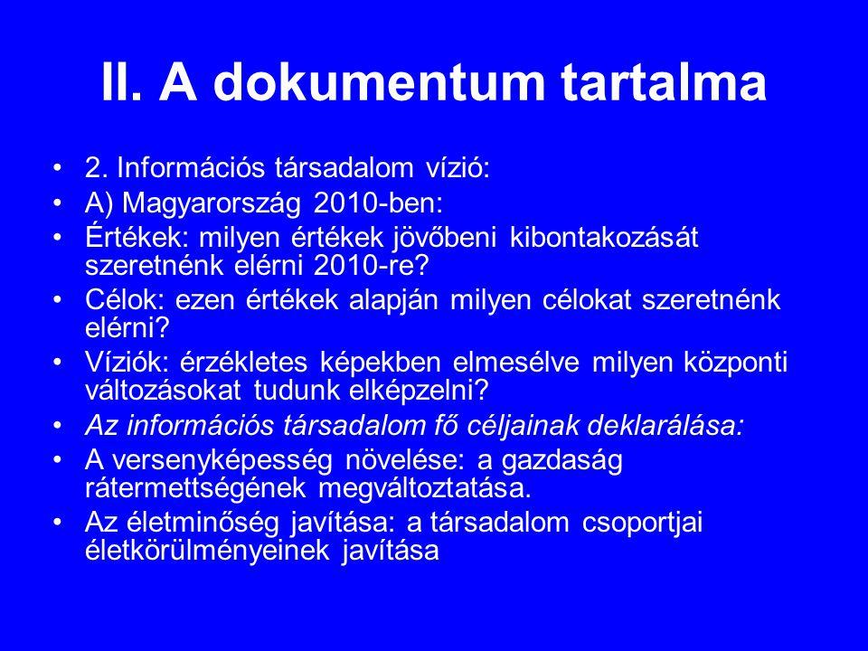 II. A dokumentum tartalma •2.