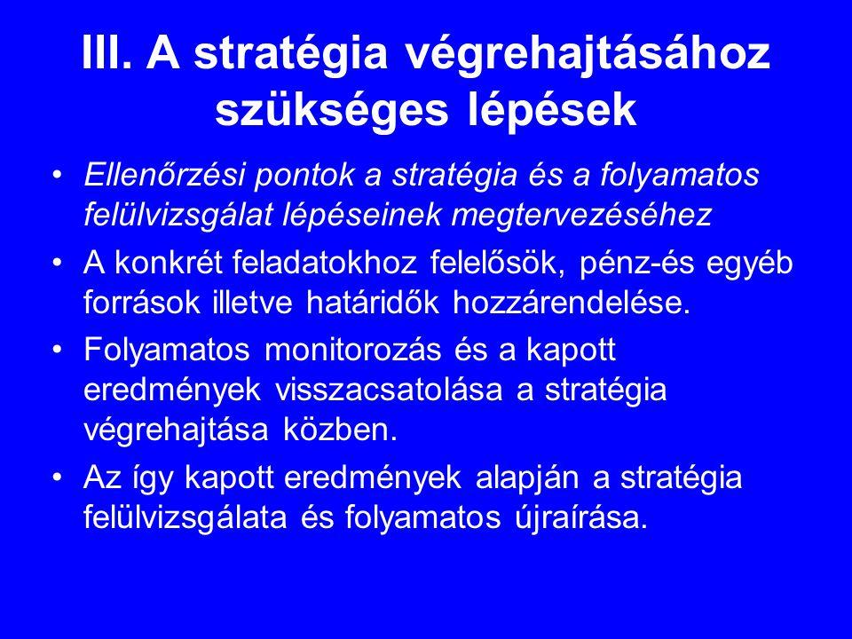 III. A stratégia végrehajtásához szükséges lépések •Ellenőrzési pontok a stratégia és a folyamatos felülvizsgálat lépéseinek megtervezéséhez •A konkré
