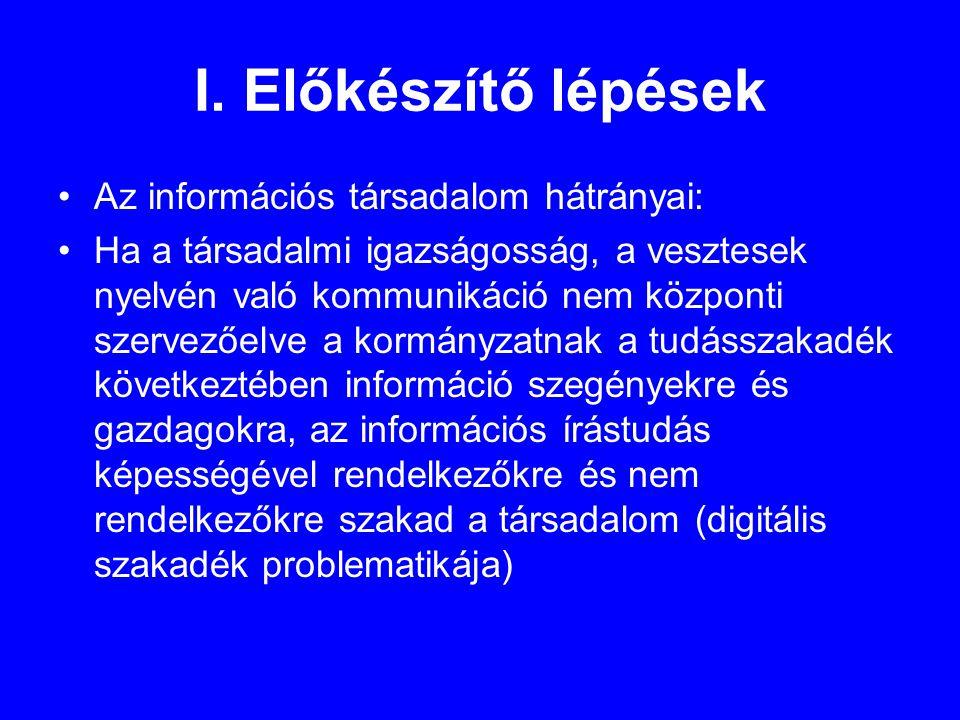 I. Előkészítő lépések •Az információs társadalom hátrányai: •Ha a társadalmi igazságosság, a vesztesek nyelvén való kommunikáció nem központi szervező