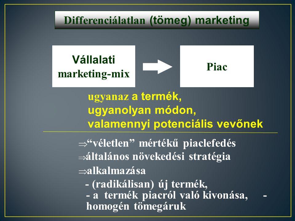 Piacszegmentálás Szegmentáció A vállalat számára lényeges kritériumok alapján a piac homogén részekre osztása Szegmens Viszonylag homogén, egyedi kere