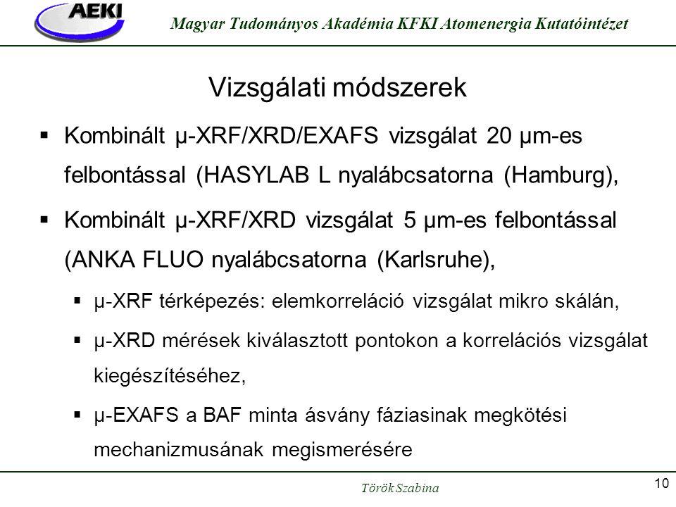 Török Szabina Magyar Tudományos Akadémia KFKI Atomenergia Kutatóintézet 10 Vizsgálati módszerek  Kombinált μ-XRF/XRD/EXAFS vizsgálat 20 μm-es felbont