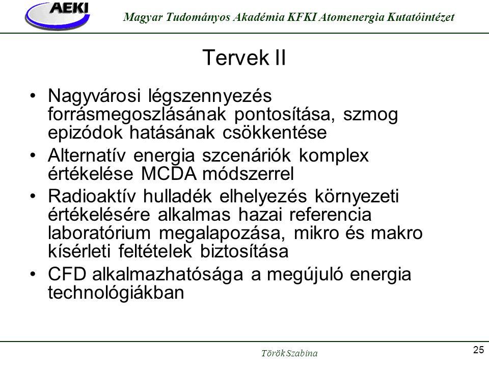 Török Szabina Magyar Tudományos Akadémia KFKI Atomenergia Kutatóintézet 25 Tervek II •Nagyvárosi légszennyezés forrásmegoszlásának pontosítása, szmog