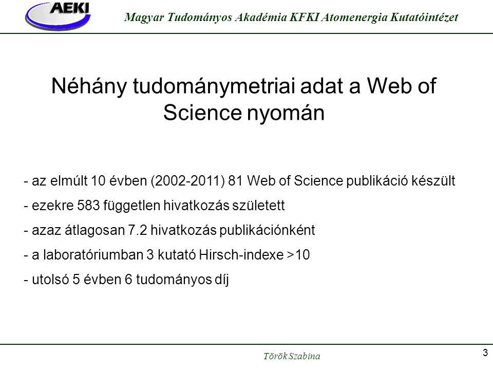 Török Szabina Magyar Tudományos Akadémia KFKI Atomenergia Kutatóintézet 3 Néhány tudománymetriai adat a Web of Science nyomán - az elmúlt 10 évben (20