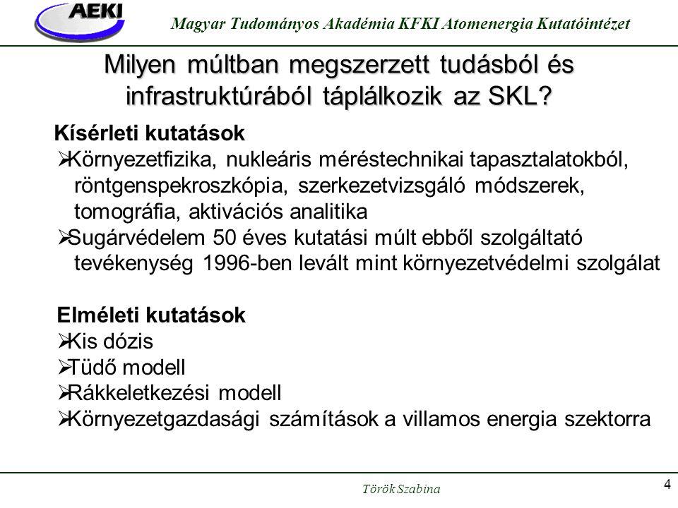 Török Szabina Magyar Tudományos Akadémia KFKI Atomenergia Kutatóintézet 4 Milyen múltban megszerzett tudásból és infrastruktúrából táplálkozik az SKL?