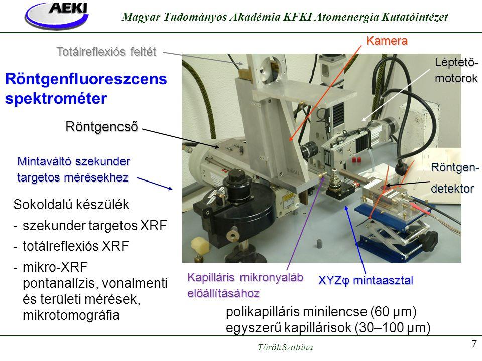 Török Szabina Magyar Tudományos Akadémia KFKI Atomenergia Kutatóintézet 7 Röntgenfluoreszcens spektrométer Totálreflexiós feltét Mintaváltó szekunder
