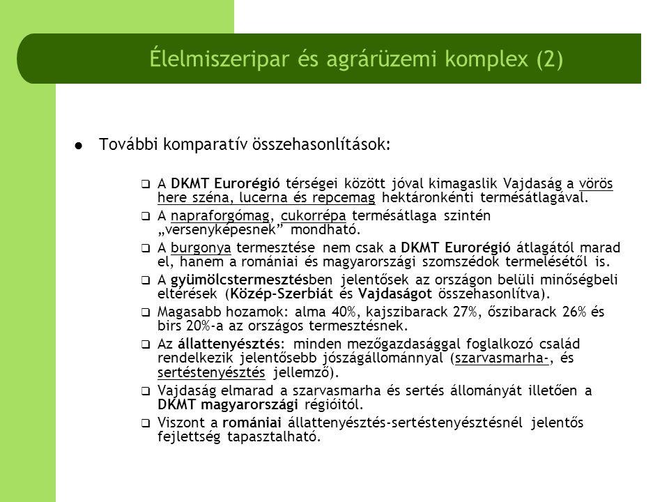 Vajdaság AT Regionális Fejlesztési Terve alapján a mezőgazdaság SWOT elemzése (2003) Erősségek - ElőnyökGyengeségek - Jó természeti feltételek- Apró birtokok és a falusi gazdaságok gyenge szervezettsége - Tradíció, hagyományok- Társadalmi tulajdon és nagyszámú mezőgazdasági foglalkoztatott - Fejlett élelmiszeripar- A termelés hatékonyságából fakadó hiányosságok - Szakképzett és olcsó munkaerő- Extenzív termelés - Fejlett kutatás-fejlesztési gyakorlat- Gyenge technikai felszereltség és elöregedett termelési eszközök LehetőségekVeszélyek - Korlátok - A termelés intenzitásának növelése, hozamnövekedések a szerkezetváltás következményeként - Külföldi piacok – védőintézkedések, hazai piac – alacsony fizetőképes kereslet - A termelés hatékonyságának növelése társulások, földműves- szerveződések által - Forgóeszköz- és egyéb beruházásokhoz szükséges tőke - Mikroregionális szerveződés a szőlő- és gyümölcstermesztésben- Állami mezőgazdasági (fejlesztési) szolgálat létezésének hiánya - Az össztermelés, kivitel növelése a magánosítás által, és külföldi partnerekkel történő kapcsolatteremtés - Nem megfelelő oktatás, képzés, ismeretek a farm menedzsment területén - Elégtelen állami szubvenció, pénzügyi juttatás a mezőgazdaság fejlesztésére - Törvényes rendelkezések hiánya