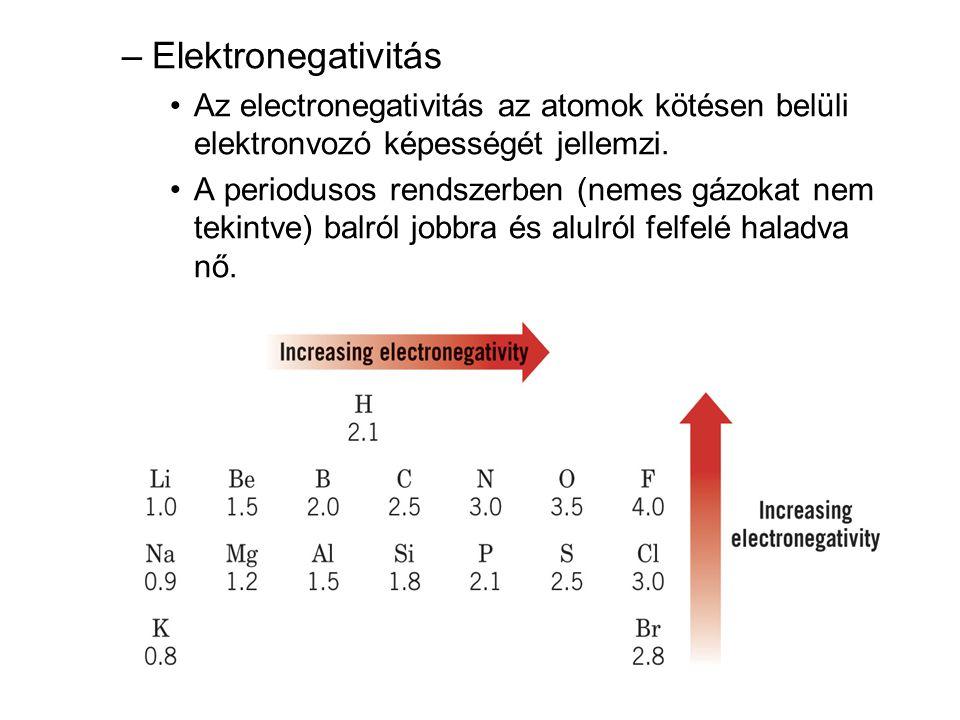 –Elektronegativitás •Az electronegativitás az atomok kötésen belüli elektronvozó képességét jellemzi. •A periodusos rendszerben (nemes gázokat nem tek