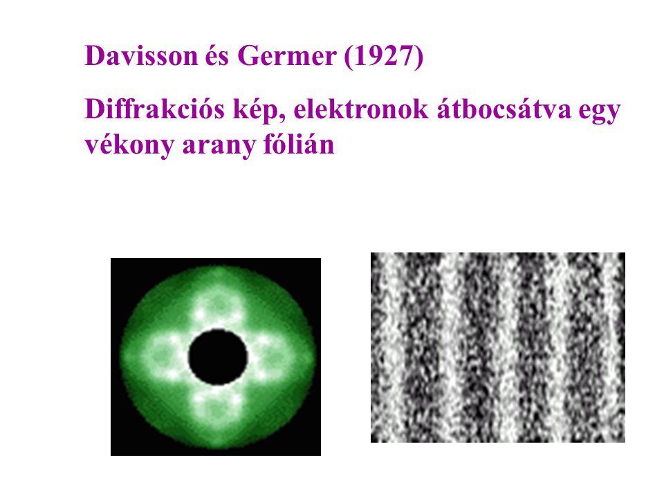 Davisson és Germer (1927) Diffrakciós kép, elektronok átbocsátva egy vékony arany fólián