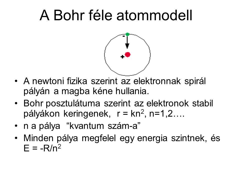 A Bohr féle atommodell •A newtoni fizika szerint az elektronnak spirál pályán a magba kéne hullania. •Bohr posztulátuma szerint az elektronok stabil p