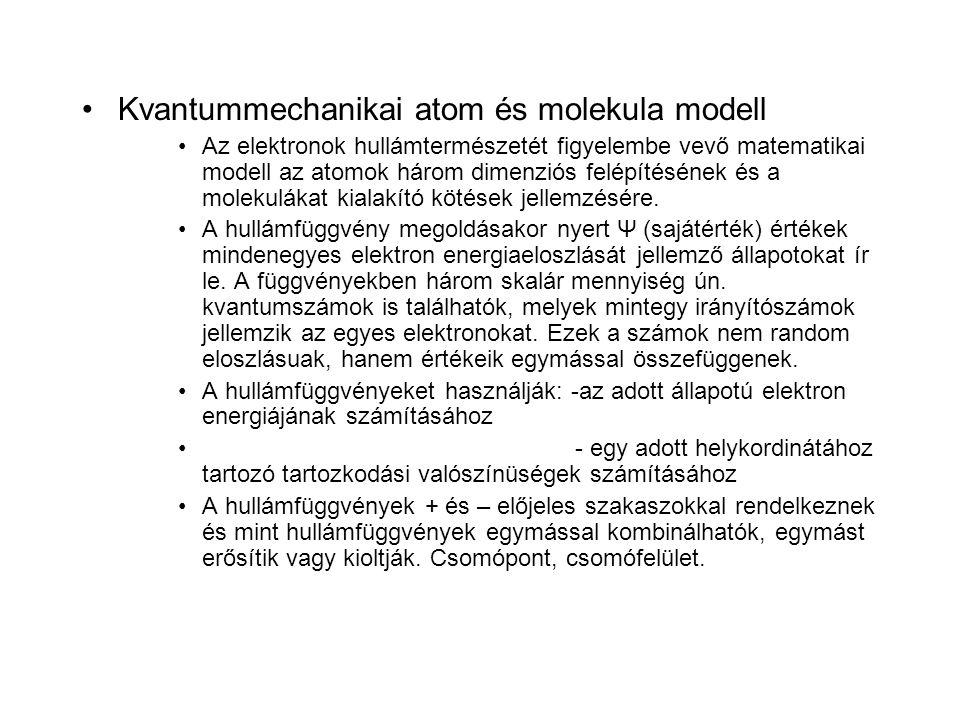•Kvantummechanikai atom és molekula modell •Az elektronok hullámtermészetét figyelembe vevő matematikai modell az atomok három dimenziós felépítésének