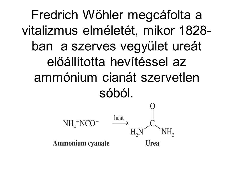 Fredrich Wöhler megcáfolta a vitalizmus elméletét, mikor 1828- ban a szerves vegyület ureát előállította hevítéssel az ammónium cianát szervetlen sóbó