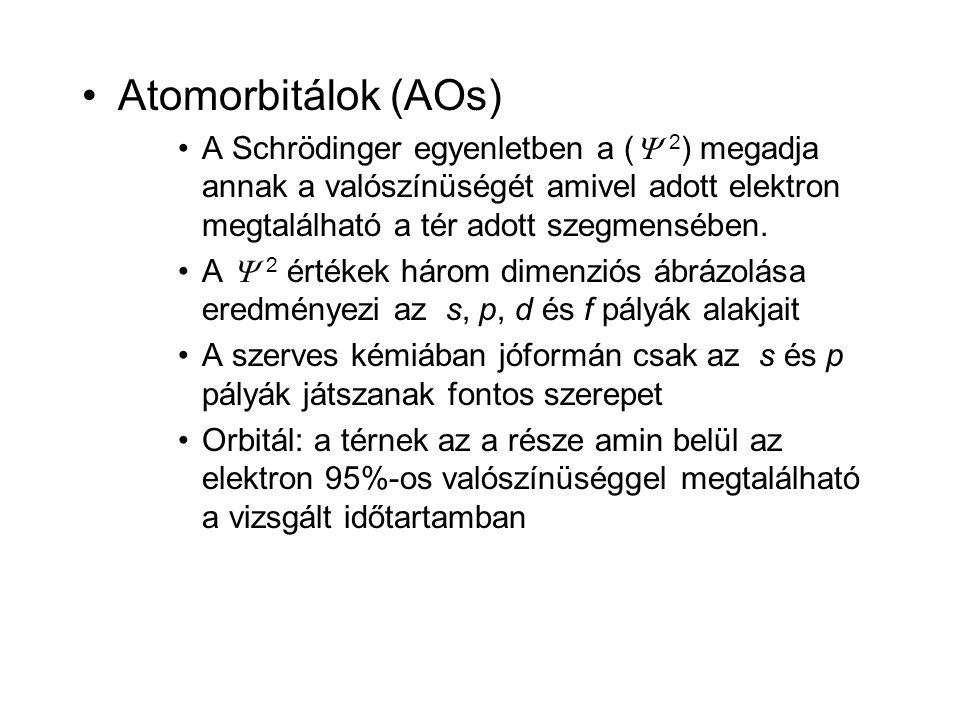 •Atomorbitálok (AOs) •A Schrödinger egyenletben a (  2 ) megadja annak a valószínüségét amivel adott elektron megtalálható a tér adott szegmensében.