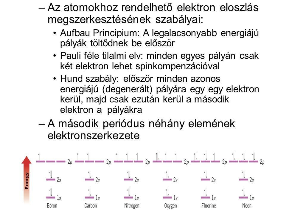 –Az atomokhoz rendelhető elektron eloszlás megszerkesztésének szabályai: •Aufbau Principium: A legalacsonyabb energiájú pályák töltődnek be először •P