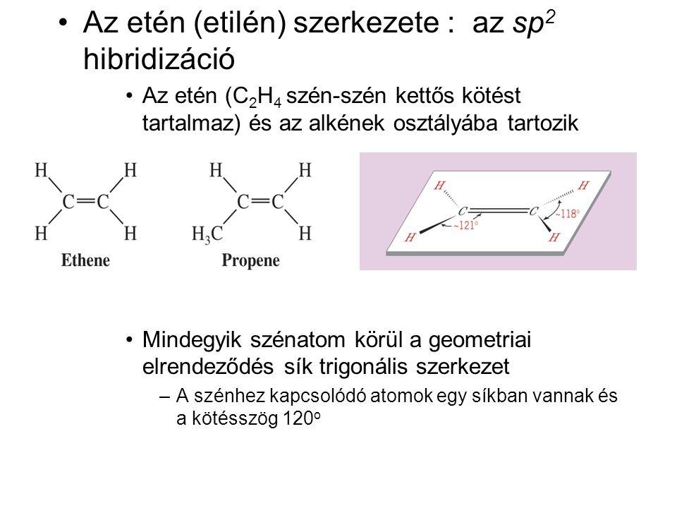 •Az etén (etilén) szerkezete : az sp 2 hibridizáció •Az etén (C 2 H 4 szén-szén kettős kötést tartalmaz) és az alkének osztályába tartozik •Mindegyik