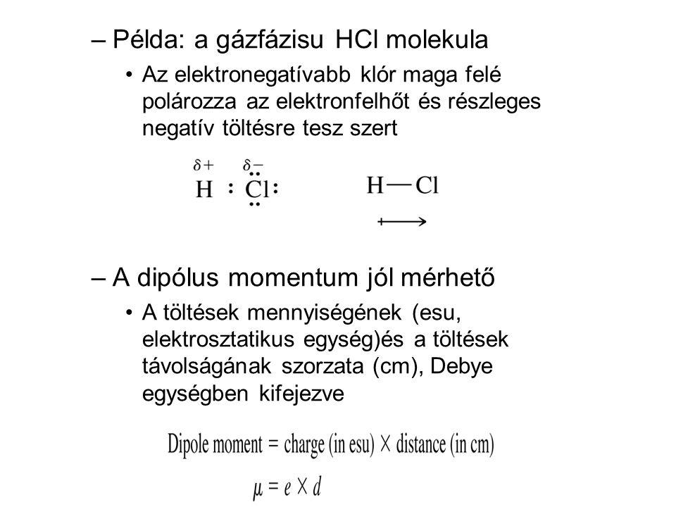 –Példa: a gázfázisu HCl molekula •Az elektronegatívabb klór maga felé polározza az elektronfelhőt és részleges negatív töltésre tesz szert –A dipólus