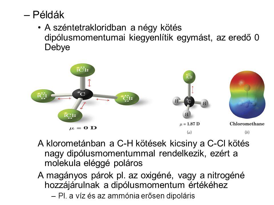 –Példák •A széntetrakloridban a négy kötés dipólusmomentumai kiegyenlítik egymást, az eredő 0 Debye A klorometánban a C-H kötések kicsiny a C-Cl kötés