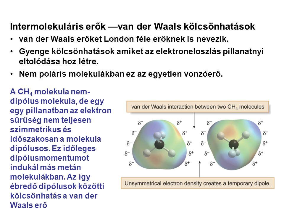Intermolekuláris erők —van der Waals kölcsönhatások •van der Waals erőket London féle erőknek is nevezik. •Gyenge kölcsönhatások amiket az elektronelo